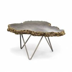 Small Stainless Steel and Lava Stone Coffee Table - Mecox Gardens