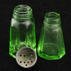 Hazel Atlas Green Depression Glass Salt Shakers 2 by CharmingsVintageCollectibles for $5.00