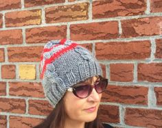 Red Slouchy Hat Knit Slouchy Beanie Winter Warm Cap by KnitSew4U