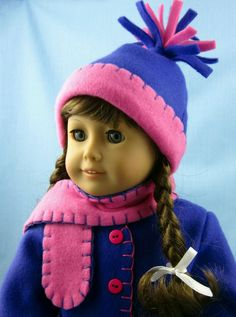 American Girl Doll Clothes   Fleece Jacket, scarf and hat by SewMyGoodnessShop