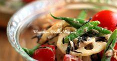 レンコンとインゲンのポリポリ食感♪トマトの酸味とかつお節の旨味をツナマヨでまろやかに仕上げました。ヘルシーな和サラダ♪