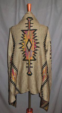 Cowgirl BOHO Gypsy Open Soft Drape Cozy Cardigan Aztec Tribal Juniors S/M #wishlist #Cardigan