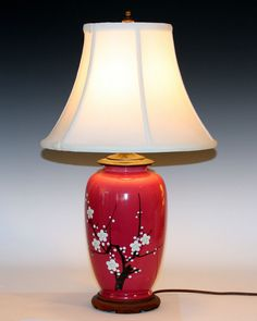 Red oriental table lamp vintage japanese asian design porcelain oldantique awaji pottery japanese prunus cherry blossom vase lamp mozeypictures Image collections