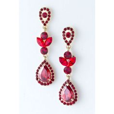 """Charmed by Stacy """"Josephine"""" Red Carpet Earrings Gems Jewelry, Jewelry Accessories, Fashion Accessories, Fashion Jewelry, Jewellery, Ruby Earrings, Teardrop Earrings, Discount Jewelry, Simple Necklace"""