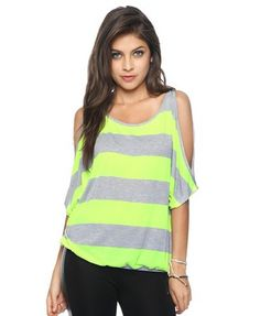Neon Striped Cutout Shoulder Top | FOREVER21 - 2000039391
