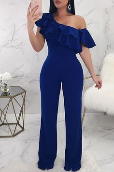 Lovely Casual Dew Shoulder Blue Knitting One-piece Jumpsuit, Jumpsuit Dressy, Jumpsuit Outfit, Classy Outfits, Stylish Outfits, Fashion Outfits, Designer Jumpsuits, African Fashion Dresses, Overall, College Outfits