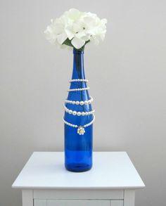 Vintage Cobalt Blue Repurposed Glass Wine by WillowCreekGlass, $30.00