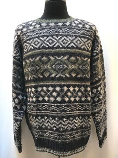 94d15e0b68 Vintage Fair Isle Nordic Sweater Men s XXL Wool Blend Classic Blue and  Green  Unbranded
