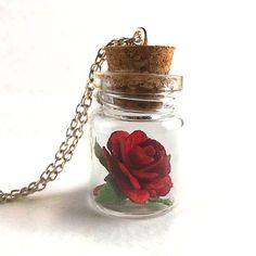 Red rose in a vial - beauty and the beast necklace bottle necklace, b Bottle Charms, Bottle Necklace, Diy Birthday, Birthday Gifts, Broken Bottle, Custom Bottles, Rose Images, Diy Resin Crafts, Bath And Beyond Coupon