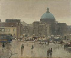 Cornelis Vreedenburgh (Woerden Laren (N.)) The Prins Hendrikkade, Amsterdam, with the Stromarkt and the Ronde Lutherse Kerk - Dutch Art Gallery Simonis and Buunk Ede, Netherlands. Dutch Painters, Dutch Artists, Old City, Luther, Paintings For Sale, Amsterdam, Netherlands, Holland, Oil On Canvas