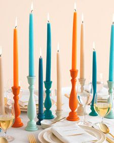 Colorful Candle Holders How-To - Martha Stewart Weddings Inspiration- Still my favorite centerpieces Hosting Thanksgiving, Thanksgiving Table, Fall Table, Christmas Tables, Holiday Tables, Wedding Ceremony Ideas, Diy Wedding, Wedding Reception, Reception Table