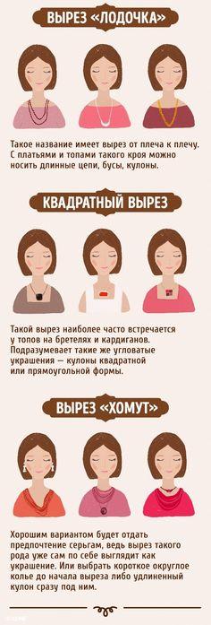 Как правильно сочетать ожерелья с вырезами, а сережки — с типом лица.