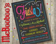 Chalkboard Mexican Fiesta Rehearsal Dinner Pretty and colorful Mexican Fiesta Rehearsal Dinner Invitations with bright colorts, fun typography, and