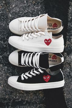 70eea9b74b2 Black   white tennis shoes sneakers with hearts ( anneliestreur) Comme Des  Garcons