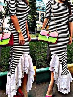Choies Limited Edition Stripe Fishtail Maxi Dress With Lace Hem | Choies