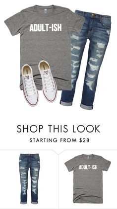 """""""Adult-ish t-shirt"""" by thespiritwild ❤ liked on Polyvore featuring Current/Elliott and Converse"""