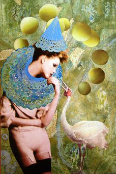 My Crane Wife -2D collage by Dianne Hoffman