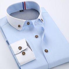 New Men Long-Sleeved Shirt chemise home Lapel Button Solid Color Wrinkle Permanent Press Casual Shirt Business Casual Men, Business Fashion, Collar Dress, Shirt Dress, Mens Fashion Blazer, Men Fashion, Black And White Shirt, Black White, Only Shirt