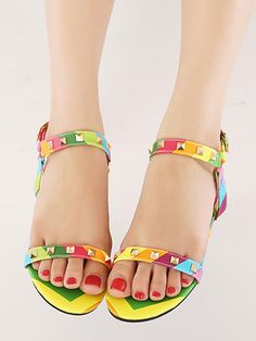 Multicolor Studs Detail Barely There Flat Sandals   Choies