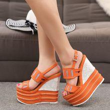 16 cm à talons hauts sandales femmes cales d'été chaussures 2017 nouveau strew sangle de talon sandale(China (Mainland))