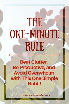 Can one simple habit help you be more productive, beat clutter, and avoid overwhelm? The one-minute rule is one of the best productivity tips ever! Declutter Your Home, Organizing Your Home, Organizing Tips, Organising, Getting Rid Of Clutter, Getting Organized, Cleaning Checklist, Cleaning Hacks, Clutter Organization