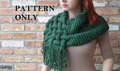 Giant scarf pattern, chunky knit scarf, cowl scarf, hooded scarf, knit scarf, cabled ________________________________________________________________________________________  Make your own lovely knit, cabled inspired scarf! This pattern is on sale for a limited time. This listing is for the *pattern only* to make your very own woven-knit scarf. The 4 page pattern comes with detailed pictures, and lots of explanations.  Share your progress on the patterns ravelry page…