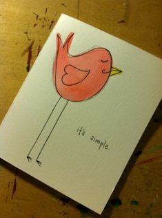 Handmade Its Simple I love you Birdie Card - Just because Card via Etsy