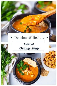 This healthy carrot soup is incredibly nourishing and filling. Carrots, garlic, sweet shallots, bell pepper, oranges, and fresh parsley nicely come together, creating hearty and sweet flavors and one DELICIOUS vegetable soup! #vegetarian #glutenfree #dairyfree #vegan #souprecipes