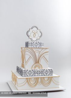 Black and gold design motif cake inspired by the Great Gatsby