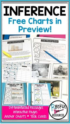 STEP-BY-STEP INFERENCING: Includes differentiated inference passages, photos, task cards, anchor charts, interactive pages, and more! Check out the preview for some free pages to use in your class today!  There is a variety of reading comprehension activities that are great for literacy centers!