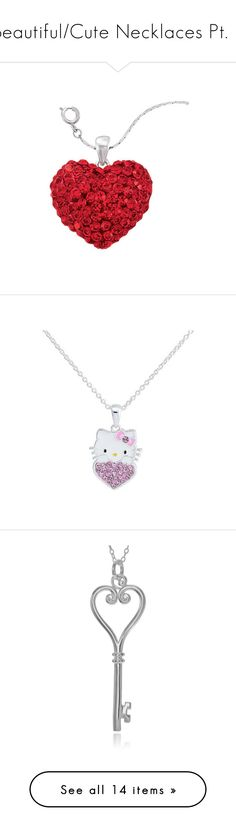 """""""Beautiful/Cute Necklaces Pt. 2"""" by nerdbucket ❤ liked on Polyvore featuring jewelry, pendants, necklaces, heart pendant jewelry, natures jewelry, heart pendant, silver plating jewelry, charm pendant, multi color and heart charm"""