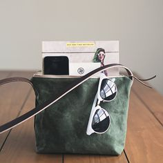 Waxed Canvas Crossbody day bag leather strap by EllieJaneBags