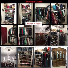 Boutique Walk-In Closet (on a budget). Make Over Closet: Before & After photos. My goal was to create an area that resembled a boutique. Reused shelves that my husband installed, reused hutch that was giving to me, took off door, sorted and donated clothes, belts, purses, shoes, and hats. The only items I bought were: hangers, chandelier, curtain, jewelry organizer trays to insert in the hutch, and paint.