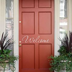Welcome Front Door Greeting Decal - Decor Designs Decals Front Door Colors, Front Door Decor, Door Design, House Design, Tutorial Diy, Painted Front Doors, Primitive Homes, Front Entrances, Porch Decorating