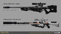 Deus Ex Mankind Divided Concept on 2 of the main new weapons alternate from DXHR : Sniper Rifle & Tranquilizer Rifle.