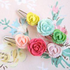 rose hair barrettes