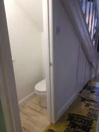 How much does adding a downstairs toilet cost - uk bathroom guru Small Downstairs Toilet, Downstairs Cloakroom, Small Toilet, New Toilet, Small Bathroom, Bathroom Ideas, Restroom Ideas, Restroom Remodel, Bathroom Designs