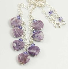 Purple Lepidolite Gemstone Hearts - Bib Necklace on Sterling Silver by Jularee, $89.00