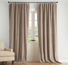 Curtains over French doors.
