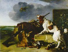 Melchior d'Hondecoeter - Dog by dead game barking at a bird of prey