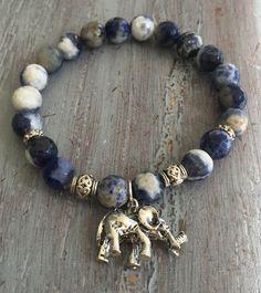 Elephant Bracelet, Elephant Jewelry, Boho Jewelry, Elephant Charm, Gemstone Beads, Charm Bracelet, Gemstone Bracelet