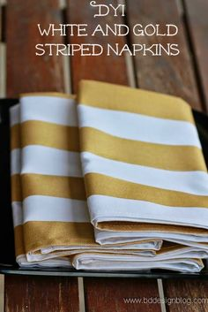 How to create a GOLD Inspired Dinner Party Series: Painted Striped Napkins