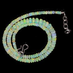 "45CRTS 3.5to6MM 17"" ETHIOPIAN OPAL RONDELLE BEAUTIFUL BEADS NECKLACE OBI603 #OPALBEADSINDIA"