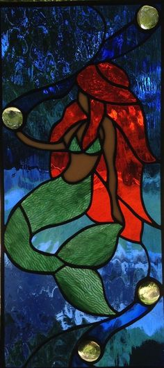 Mermaid Stained Glass Window Panel Large Suncatcher 18x8 - Made to Order