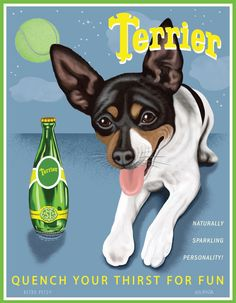 Toy Fox Terrier - Perrier Spoof  - 8x10 Art Print - Adorable!!!