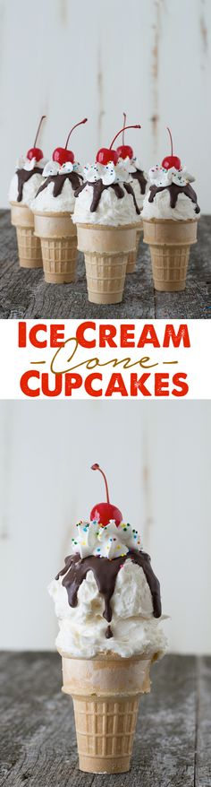 Ice Cream Cone Cupcakes - cupcakes that look like ice cream cones! This would be a fun treat or prank idea!