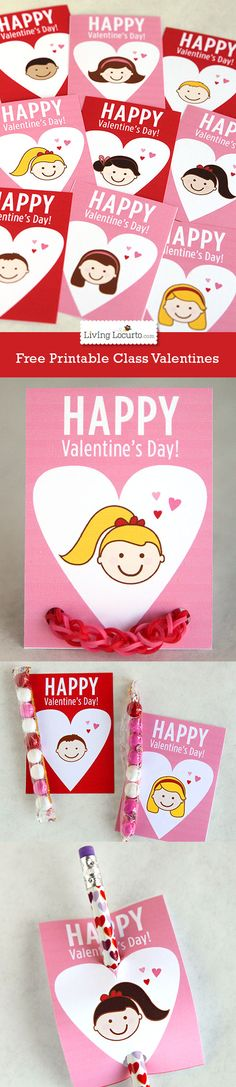 Cute Free Printable School Valentine's Day Cards For Kids by LivingLocurto.com