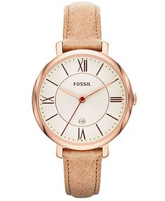 Fossil Women's Jacqueline Sand Leather Strap Watch 36mm ES3487 - Fossil - Jewelry & Watches - Macy's