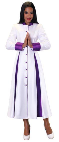 03. Ladies 1-Piece Preaching Robe Dress In White & Purple - Divinity Clergy Wear