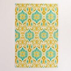 One of my favorite discoveries at WorldMarket.com: 4'x6' Lagoon Blue Ikat and Lattice Ethel Indoor-Outdoor Rug